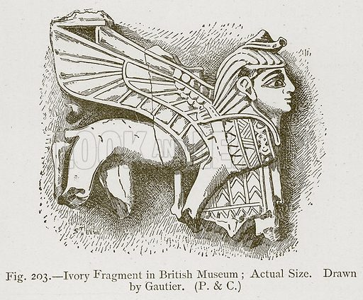 Ivory Fragment in British Museum; Actual Size. Illustration for Historic Ornament by James Ward (Chapman and Hall, 1897).