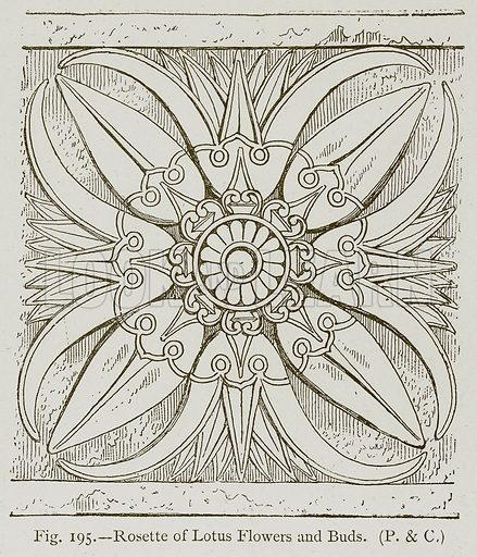 Rosette of Lotus Flowers and Buds. Illustration for Historic Ornament by James Ward (Chapman and Hall, 1897).