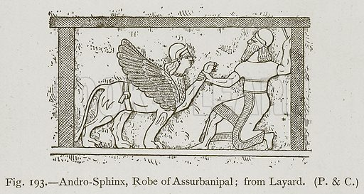Andro-Sphinx, Robe of Assurbanipal; from Layard. Illustration for Historic Ornament by James Ward (Chapman and Hall, 1897).