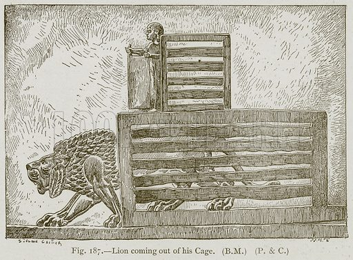 Lion coming out of his Cage. Illustration for Historic Ornament by James Ward (Chapman and Hall, 1897).