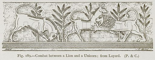Combat between a Lion and a Unicorn; from Layard. Illustration for Historic Ornament by James Ward (Chapman and Hall, 1897).
