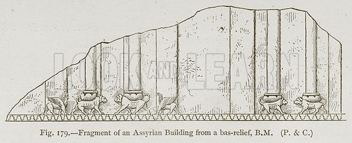 Fragment of an Assyrian Building from a Bas-Relief, BM Illustration for Historic Ornament by James Ward (Chapman and Hall, 1897).