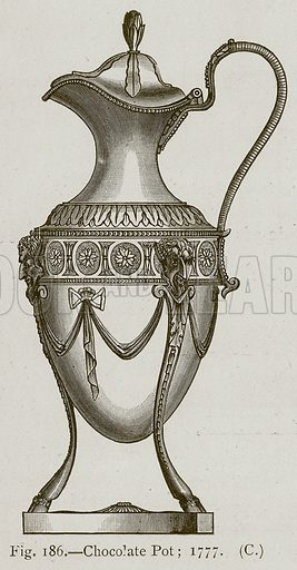 Chocolate Pot; 1777. Illustration for Historic Ornament by James Ward (Chapman and Hall, 1897).