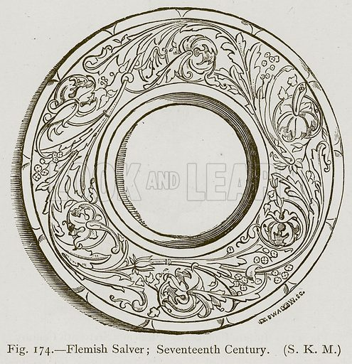 Flemish Salver; Seventeenth Century. Illustration for Historic Ornament by James Ward (Chapman and Hall, 1897).