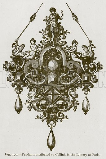 Pendant, attributed to Cellini, in the Library at Paris. Illustration for Historic Ornament by James Ward (Chapman and Hall, 1897).
