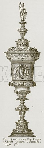 Standing Cup, Corpus Christi College, Cambridge; 1599. Illustration for Historic Ornament by James Ward (Chapman and Hall, 1897).