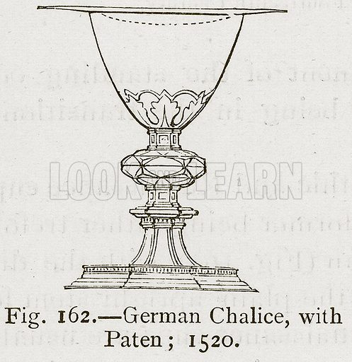German Chalice, with Paten; 1520. Illustration for Historic Ornament by James Ward (Chapman and Hall, 1897).