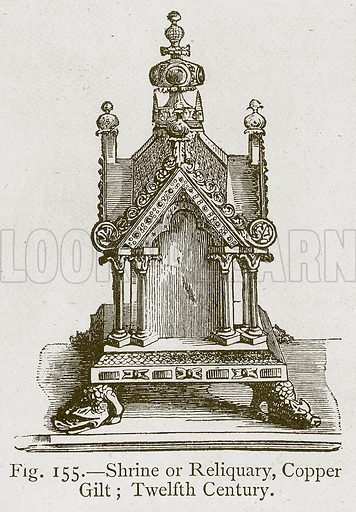 Shrine or Reliquary, Copper Gilt; Twelfth Century. Illustration for Historic Ornament by James Ward (Chapman and Hall, 1897).