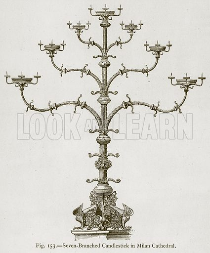 Seven-Branched Candlestick in Milan Cathedral. Illustration for Historic Ornament by James Ward (Chapman and Hall, 1897).