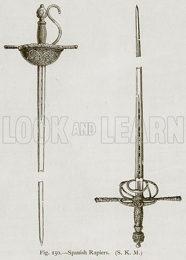 Spanish Rapiers. Illustration for Historic Ornament by James Ward (Chapman and Hall, 1897).