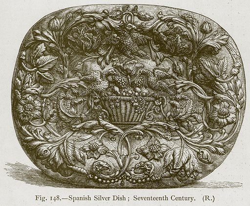 Spanish Silver Dish; Seventeenth Century. Illustration for Historic Ornament by James Ward (Chapman and Hall, 1897).
