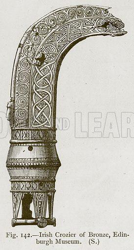 Irish Crozier of Bronze, Edinburgh Museum. Illustration for Historic Ornament by James Ward (Chapman and Hall, 1897).