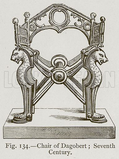 Chair of Dagobert; Seventh Century. Illustration for Historic Ornament by James Ward (Chapman and Hall, 1897).
