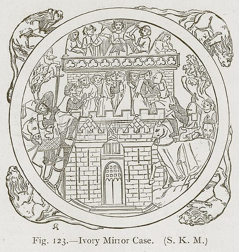 Ivory Mirror Case. Illustration for Historic Ornament by James Ward (Chapman and Hall, 1897).