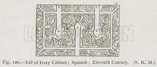Lid of Ivory Cabinet; Spanish; Eleventh Century. Illustration for Historic Ornament by James Ward (Chapman and Hall, 1897).