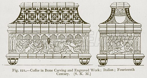 Coffer in Bone Carving and Engraved Work; Italian; Fourteenth Century. Illustration for Historic Ornament by James Ward (Chapman and Hall, 1897).