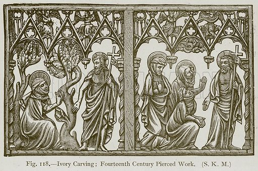Ivory Carving; Fourteenth Century Pierced Work. Illustration for Historic Ornament by James Ward (Chapman and Hall, 1897).