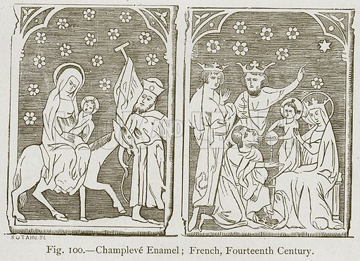 Champleve Enamel; French, Fourteenth Century. Illustration for Historic Ornament by James Ward (Chapman and Hall, 1897).
