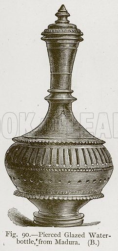 Pierced Glazed Water-Bottle, from Madura. Illustration for Historic Ornament by James Ward (Chapman and Hall, 1897).