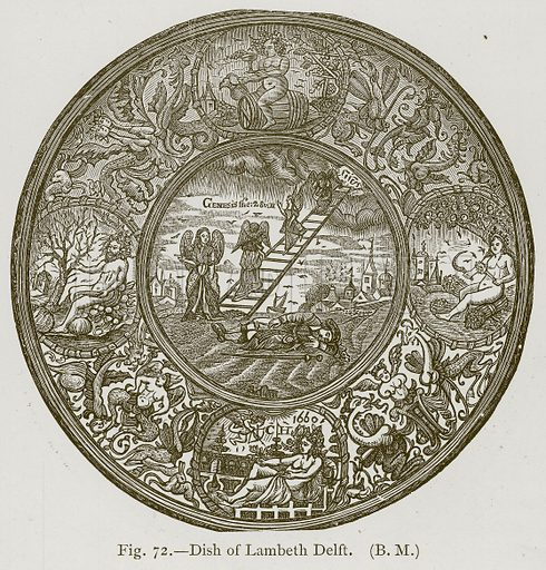 Dish of Lambeth Delft. Illustration for Historic Ornament by James Ward (Chapman and Hall, 1897).