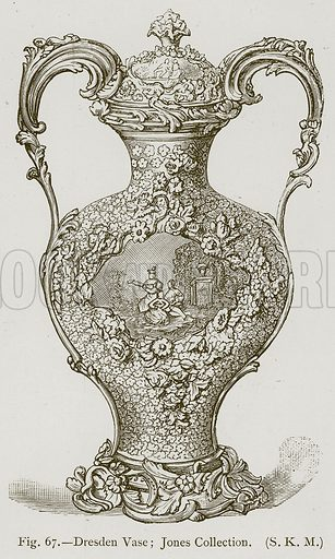 Dresden Vase; Jones Collection. Illustration for Historic Ornament by James Ward (Chapman and Hall, 1897).