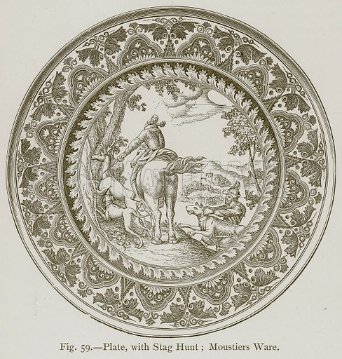 Plate, with Stag Hunt; Moustiers Ware. Illustration for Historic Ornament by James Ward (Chapman and Hall, 1897).