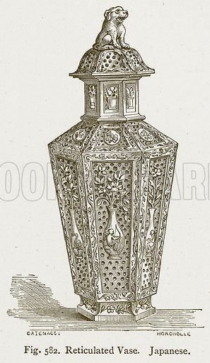 Reticulated Vase. Japanese. Illustration for An Illustrated Dictionary of Art and Archeology by J W Mollett (Sampson Low, 1883).