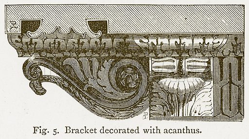 Bracket Decorated with Acanthus. Illustration for An Illustrated Dictionary of Art and Archeology by JW Mollett (Sampson Low, 1883).