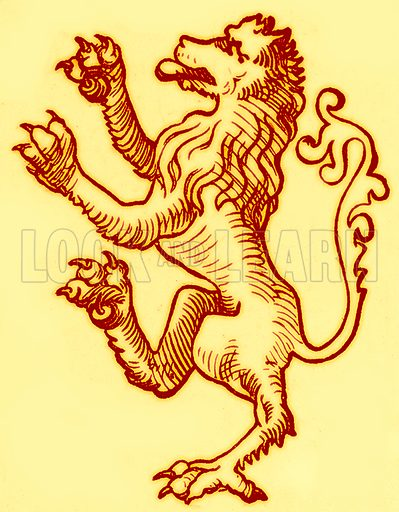 Lion Rampant. Illustration for An Illustrated Dictionary of Art and Archeology by JW Mollett (Sampson Low, 1883).