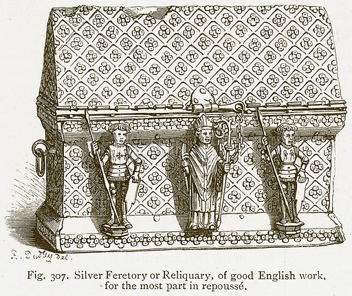 Silver Feretory or Reliquary, of Good English Work, for the most Part in Repousse. Illustration for An Illustrated Dictionary of Art and Archeology by J W Mollett (Sampson Low, 1883).