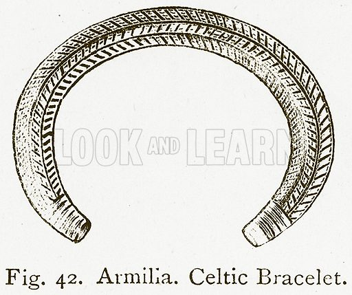 Armilla. Celtic Bracelet. Illustration for An Illustrated Dictionary of Art and Archeology by J W Mollett (Sampson Low, 1883).