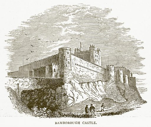 Bamborough Castle. Illustration for Around and About Old England by Clara L Mateaux (Cassell, c 1880).