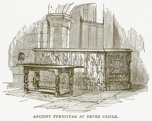 Ancient Furniture at Hever Castle. Illustration for Around and About Old England by Clara L Mateaux (Cassell, c 1880).