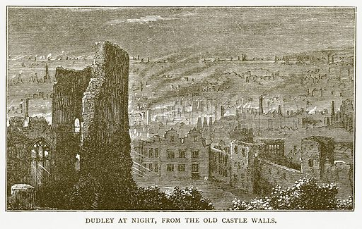 Dudley at Night, from the Old Castle Walls. Illustration for Around and About Old England by Clara L Mateaux (Cassell, c 1880).