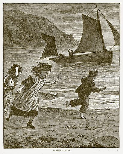 Father's Boat. Illustration for Around and About Old England by Clara L Mateaux (Cassell, c 1880).