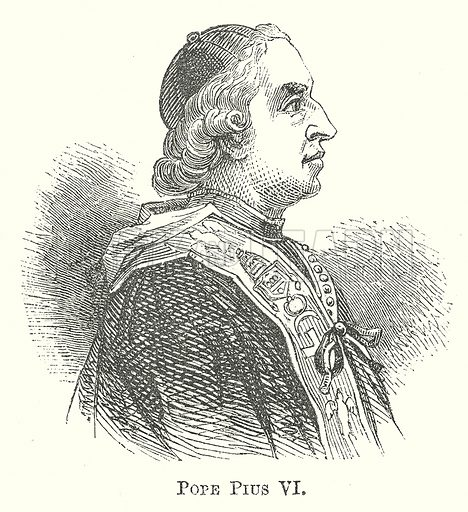 Pope Pius VI. Illustration for The Pictorial History of England (W & R Chambers, 1858).