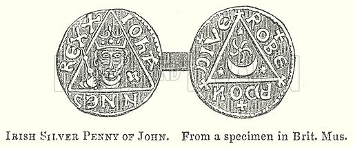 Irish Silver Penny of John. Illustration for The Pictorial History of England (W & R Chambers, 1858).