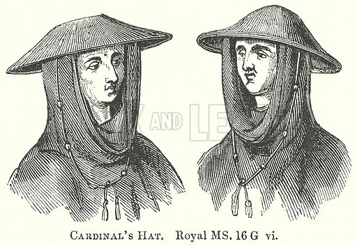 Cardinal's Hat. Illustration for The Pictorial History of England (W & R Chambers, 1858).