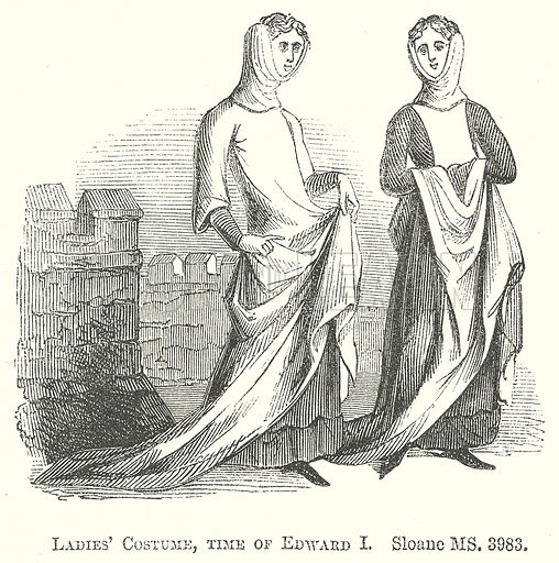 Ladies' Costume, Time of Edward I. Illustration for The Pictorial History of England (W & R Chambers, 1858).