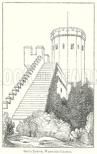 Guy's Tower, Warwick Castle. Illustration for The Pictorial History of England (W & R Chambers, 1858).