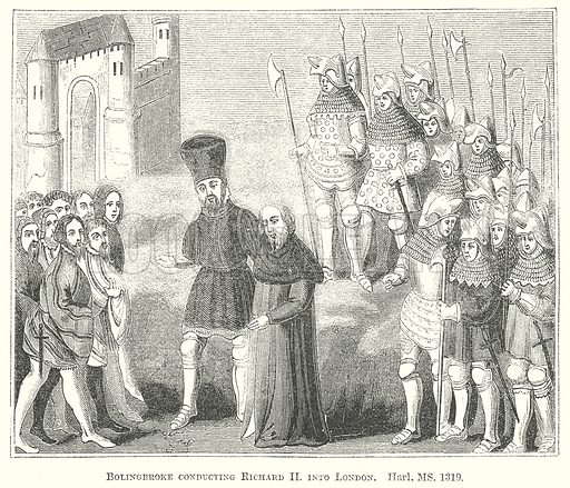 Bolingbroke conducting Richard II into London. Illustration for The Pictorial History of England (W & R Chambers, 1858).
