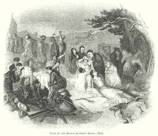 Field of the Battle of Chevy Chase.--Bird. Illustration for The Pictorial History of England (W & R Chambers, 1858).