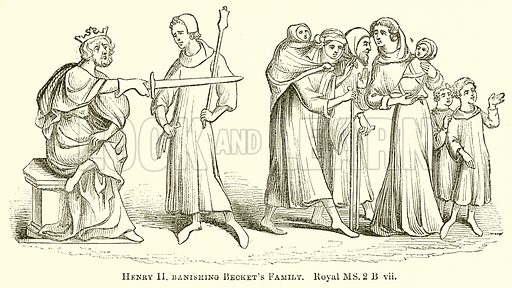 Henry II banishing Becket's Family. Illustration for The Pictorial History of England (W & R Chambers, 1858).