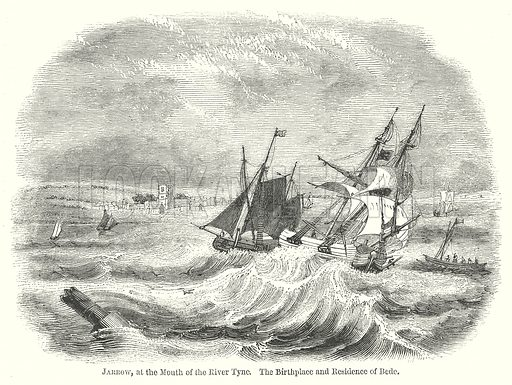 Jarrow, at the Mouth of the River Tyne. The Birthplace and Residence of Bede. Illustration for The Pictorial History of England (W & R Chambers, 1858).