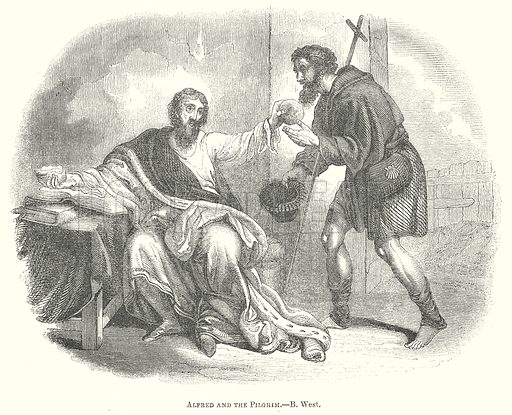 Alfred and the Pilgrim.--B. West. Illustration for The Pictorial History of England (W & R Chambers, 1858).