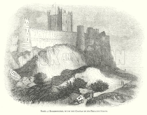 Rock of Bamborough, with the Castle in its Present State. Illustration for The Pictorial History of England (W & R Chambers, 1858).