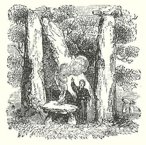 Druids. Illustration for The Pictorial History of England (W & R Chambers, 1858).