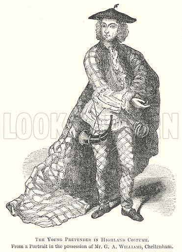 The Young Pretender in Highland Costume. Illustration for The Pictorial History of England (W & R Chambers, 1858).