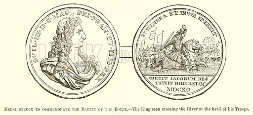 Medal struck to Commemorate the Battle of the Boyne. – The King seen crossing the River at the Head of his Troops. Illustration for The Pictorial History of England (W & R Chambers, 1858).