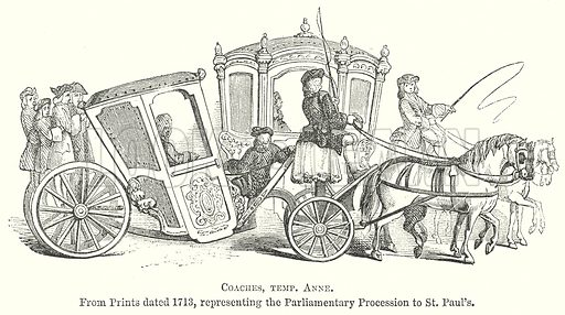 Coaches, temp. Anne. Illustration for The Pictorial History of England (W & R Chambers, 1858).